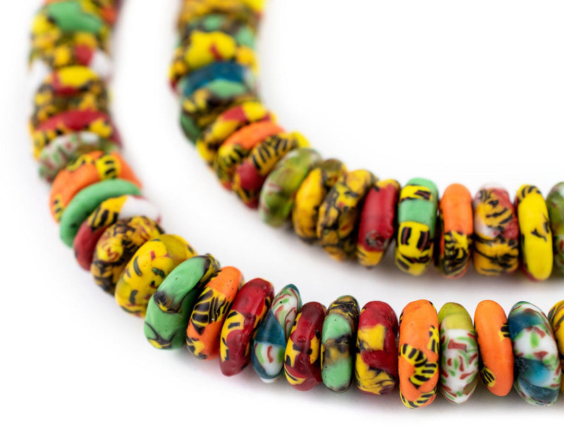 Sunyani Medley Fused Rondelle Recycled Glass Beads (11mm) - The Bead Chest