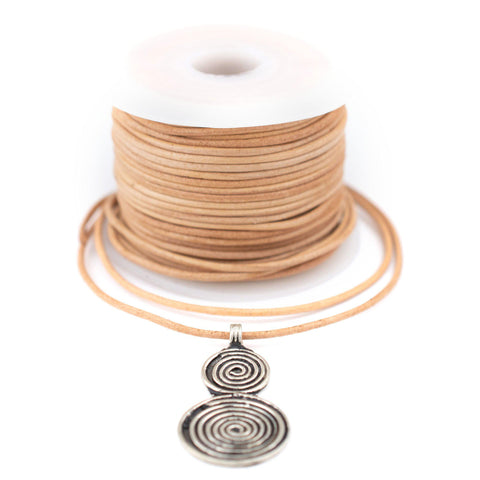 1.5mm Natural Round Leather Cord (75ft)