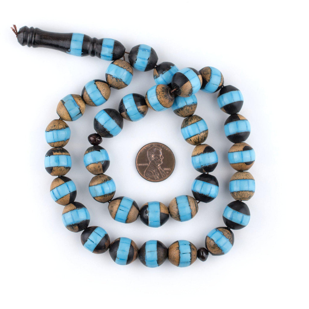 Blue-Inlaid Ebony Arabian Prayer Beads (14x12mm) - The Bead Chest