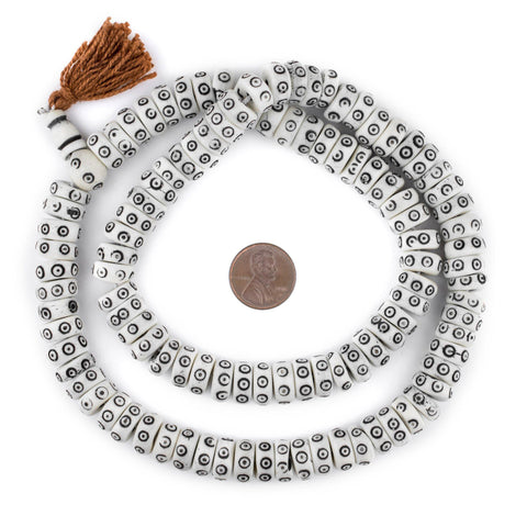 White Carved Eye Disk Bone Mala Beads (12mm) - The Bead Chest
