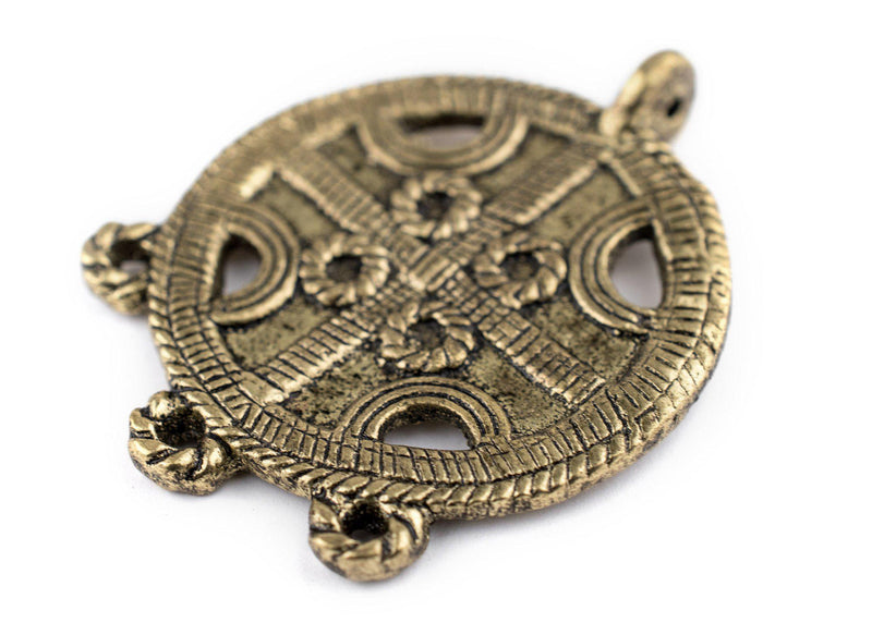 Brass Circular Cross Tribal Baule Connector Pendant (39x50mm) - The Bead Chest