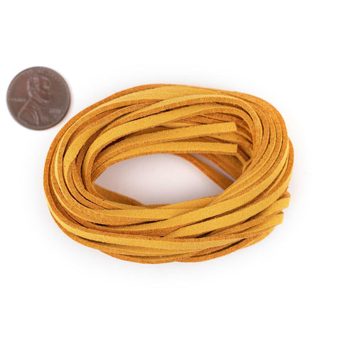3mm Flat Yellow Faux Suede Cord (15ft)