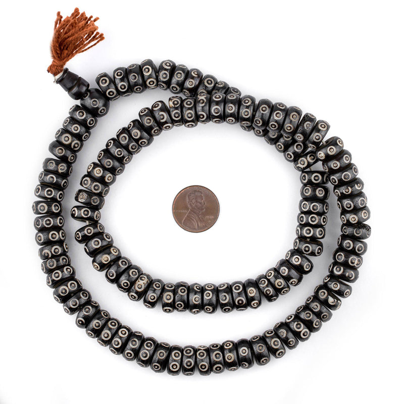 Black Carved Eye Disk Bone Mala Beads (12mm) - The Bead Chest