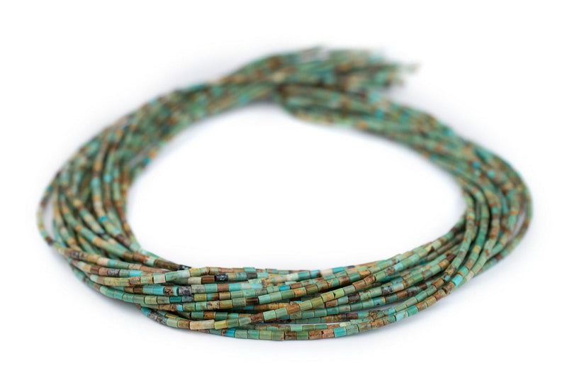Green Cylindrical Heishi Turquoise Beads (3x2mm) - The Bead Chest