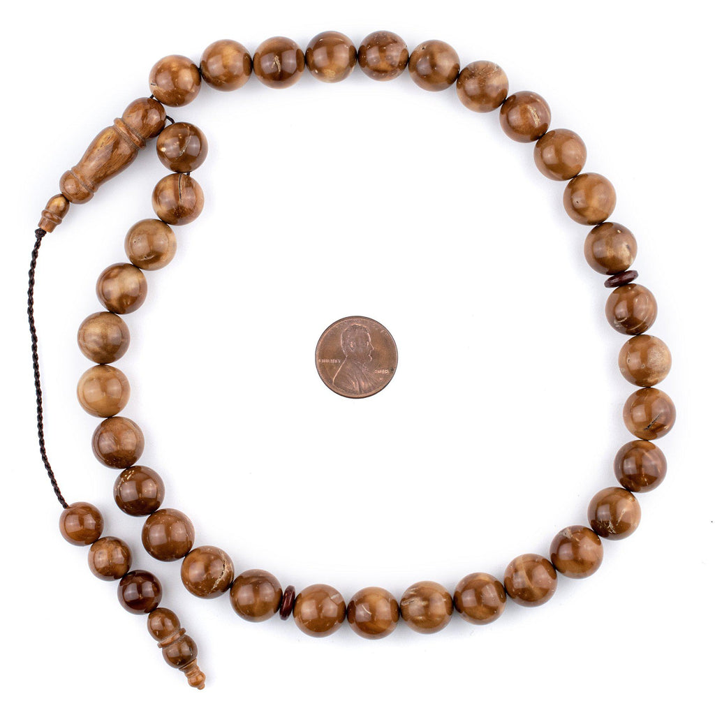 Brown Round Wooden Arabian Prayer Beads (12mm) - The Bead Chest