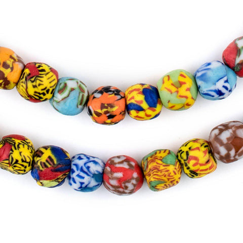 House Medley Round Fused Recycled Glass Beads (11mm) - The Bead Chest