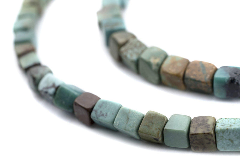 Earthy Green Turquoise Cube Beads (4mm) - The Bead Chest