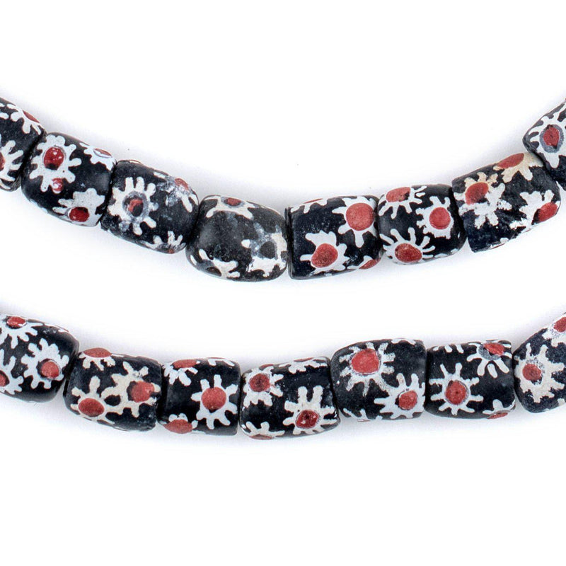 Red & White Flower Krobo Beads (11x8mm) - The Bead Chest