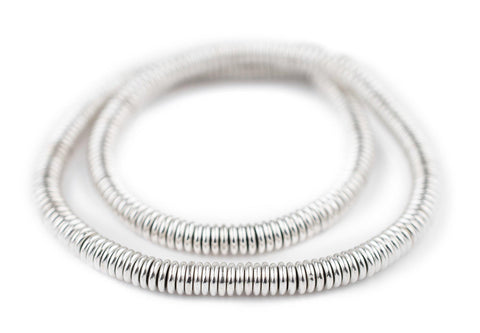 Smooth Shiny Silver Heishi Beads (6mm) - The Bead Chest