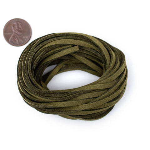 3mm Flat Olive Green Faux Suede Cord (15ft)