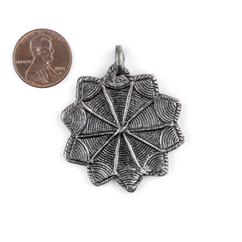 Silver 10-Point Baule Star Pendant (41x47mm) - The Bead Chest