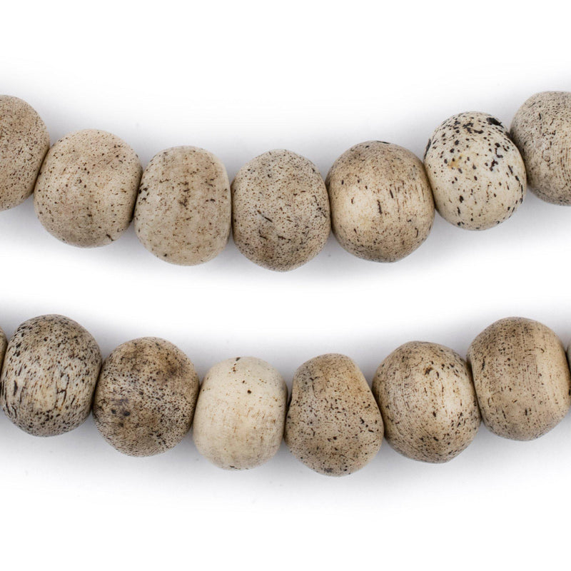 Round Grey Himalayan Bone Beads (12mm) - The Bead Chest