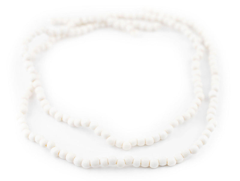 White Round Natural Wood Beads (5mm) - The Bead Chest