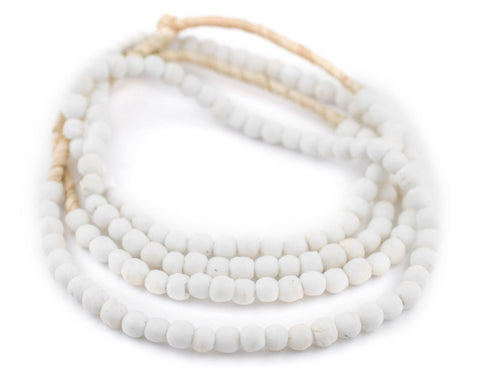 White Opaque Recycled Glass Beads (7mm) - The Bead Chest