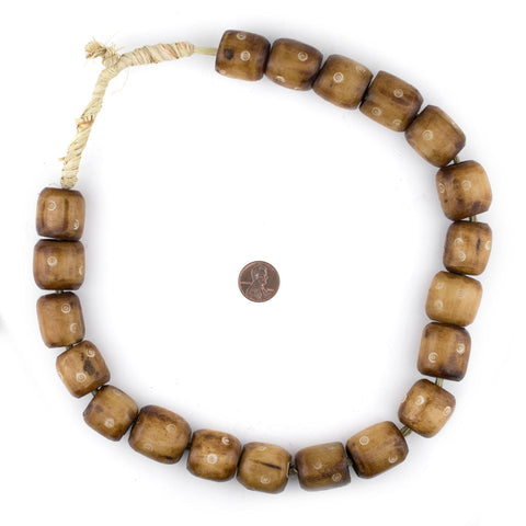 Image of Carved Light Eye Brown Bone Beads (Barrel) - The Bead Chest