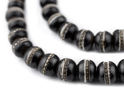 Silver-Inlaid Black Bone Mala Beads (10mm) - The Bead Chest