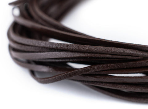 1.5mm Dark Brown Flat Leather Cord (15ft)