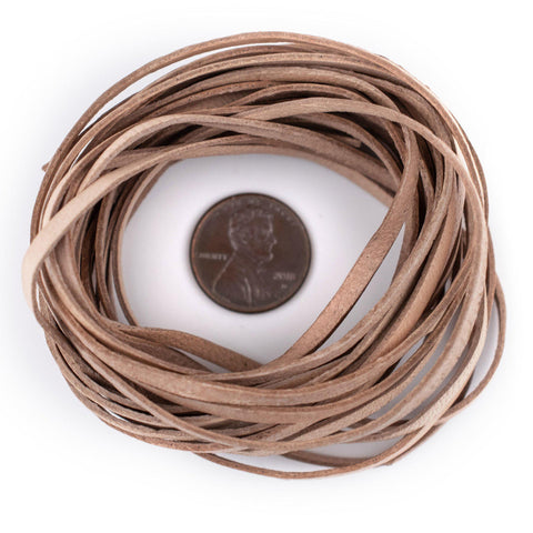 3.0mm Natural Flat Leather Cord (15ft)