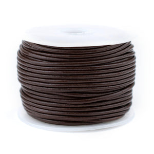 1.5mm Dark Brown Round Leather Cord (75ft)