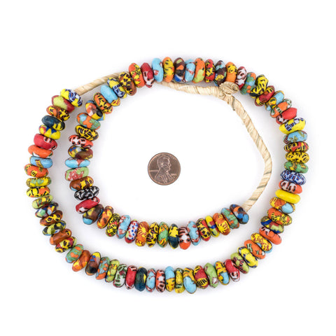 Bright Medley Fused Rondelle Recycled Glass Beads (14mm) - The Bead Chest