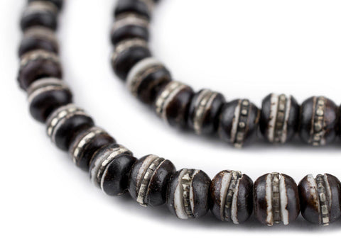 Silver-Inlaid Black Bone Mala Beads (6mm) - The Bead Chest