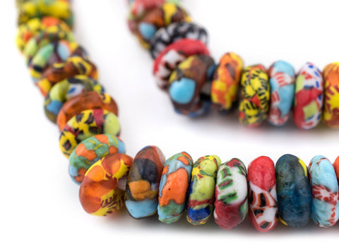 Image of Bright Medley Fused Rondelle Recycled Glass Beads (14mm) - The Bead Chest