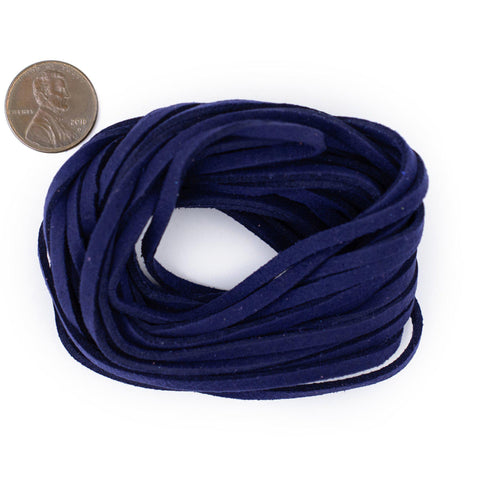 3mm Flat Indigo Blue Faux Suede Cord (15ft)