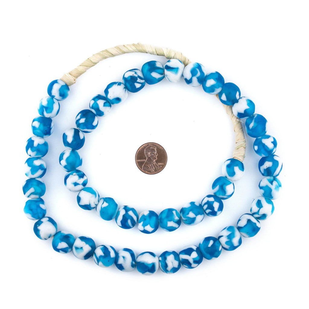Sky Blue Fused Recycled Glass Beads (14mm) - The Bead Chest