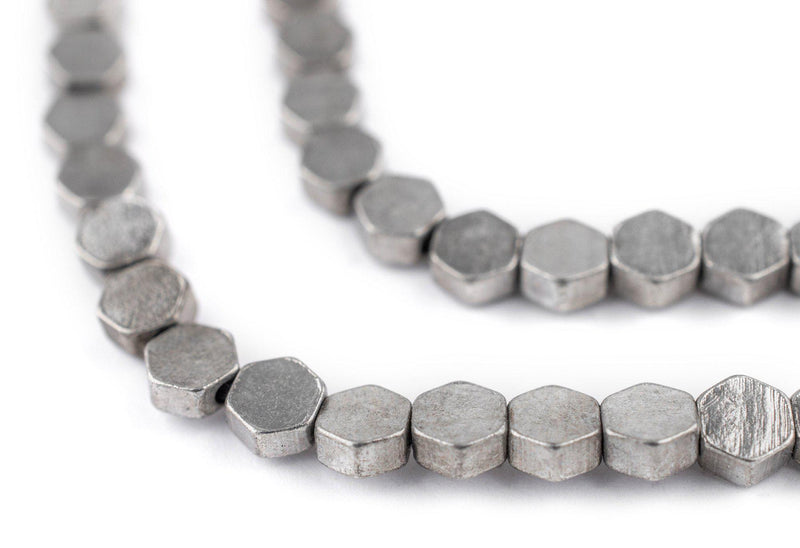 Hexagonal Silver Beads (6mm) - The Bead Chest