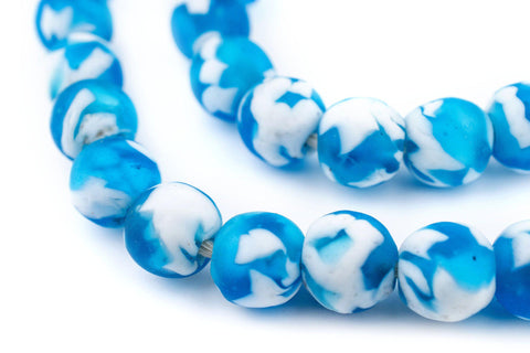 Image of Sky Blue Fused Recycled Glass Beads (14mm) - The Bead Chest
