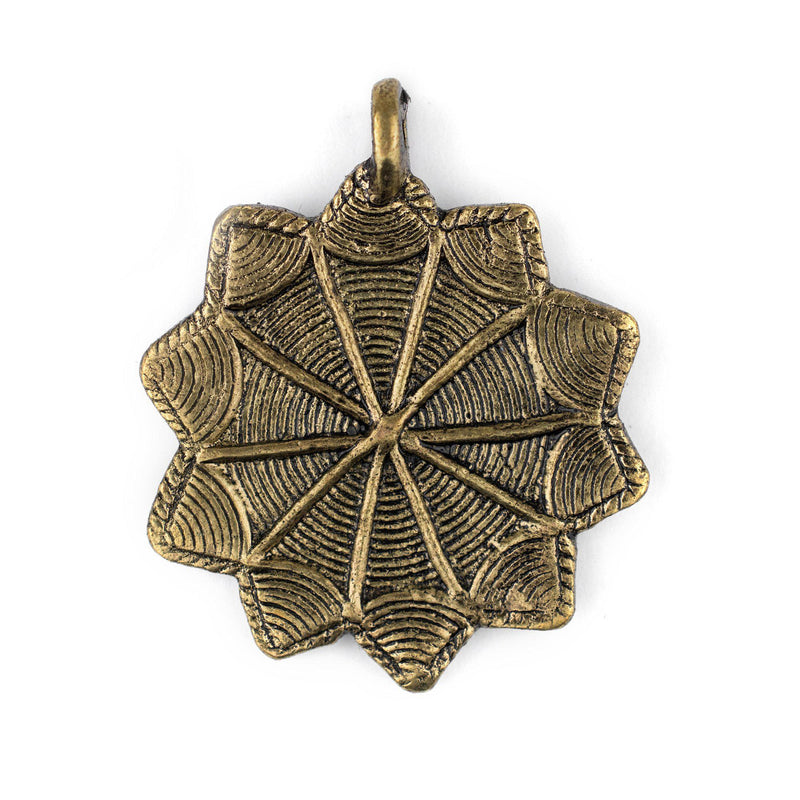 Brass 10-Point Baule Star Pendant (41x47mm) - The Bead Chest