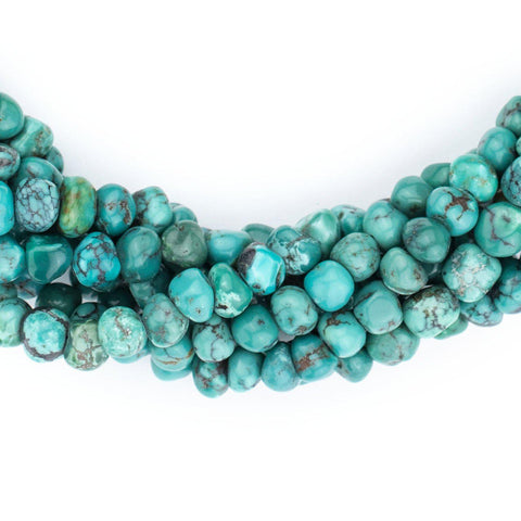 Aqua Rounded Turquoise Nugget Beads (5mm) - The Bead Chest