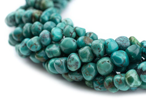 Image of Aqua Rounded Turquoise Nugget Beads (5mm) - The Bead Chest