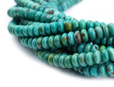 Aqua Turquoise Rondelle Beads (6mm) - The Bead Chest