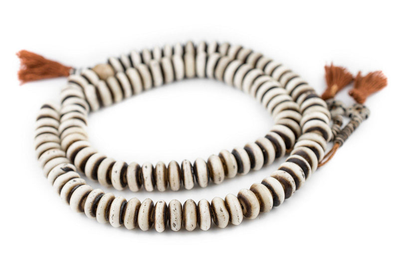 Grey Bone Mala Disk Beads (14mm) - The Bead Chest