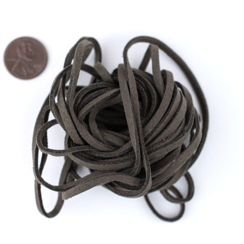 3mm Flat Groundhog Grey Faux Suede Cord (15ft)