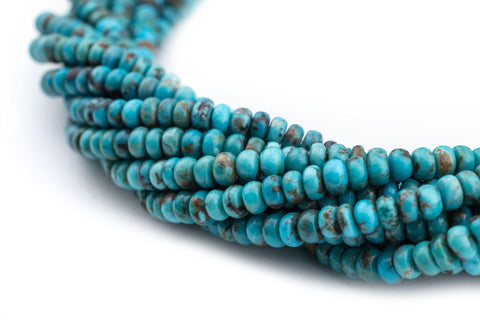 Blue Turquoise Rondelle Beads (4mm) - The Bead Chest