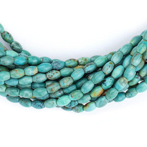 Aqua Turquoise Rice Beads (6x4mm) - The Bead Chest