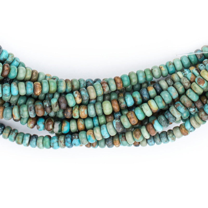 Green Turquoise Rondelle Beads (4mm) - The Bead Chest