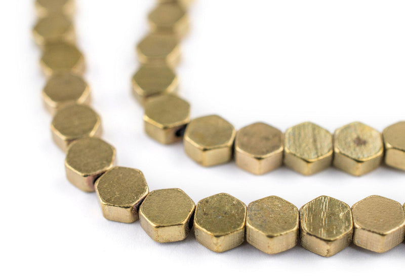 Hexagonal Brass Beads (6mm) - The Bead Chest