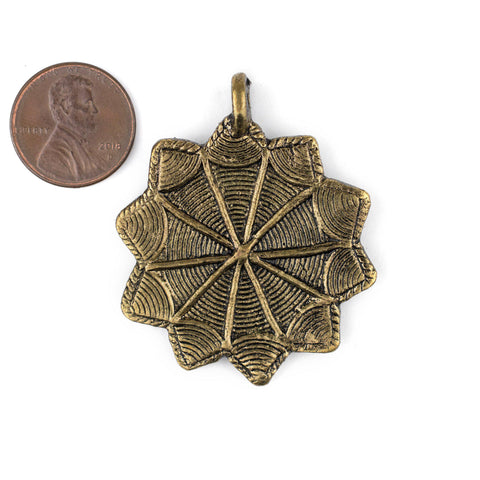 Image of Brass 10-Point Baule Star Pendant (41x47mm) - The Bead Chest