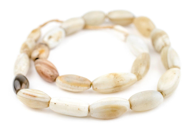 Old Nigerian White Agate Beads (9-17mm) - The Bead Chest