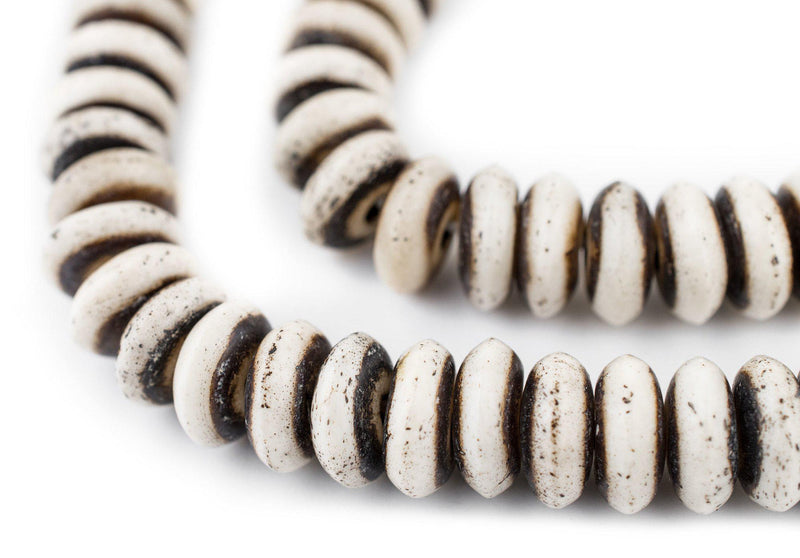 Grey Bone Mala Disk Beads (12mm) - The Bead Chest