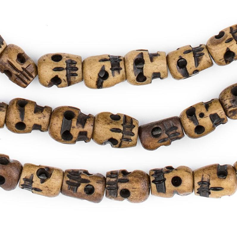Brown Carved Bone Skull Mala Beads 12x9mm The Bead Chest