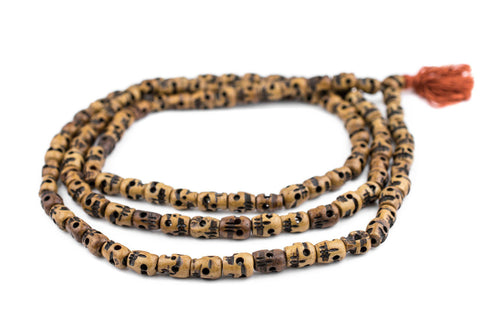 Brown Carved Bone Skull Mala Beads (12x9mm) - The Bead Chest