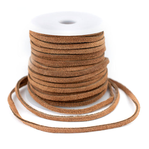 3.0mm Tan Flat Suede Leather Cord (75ft)
