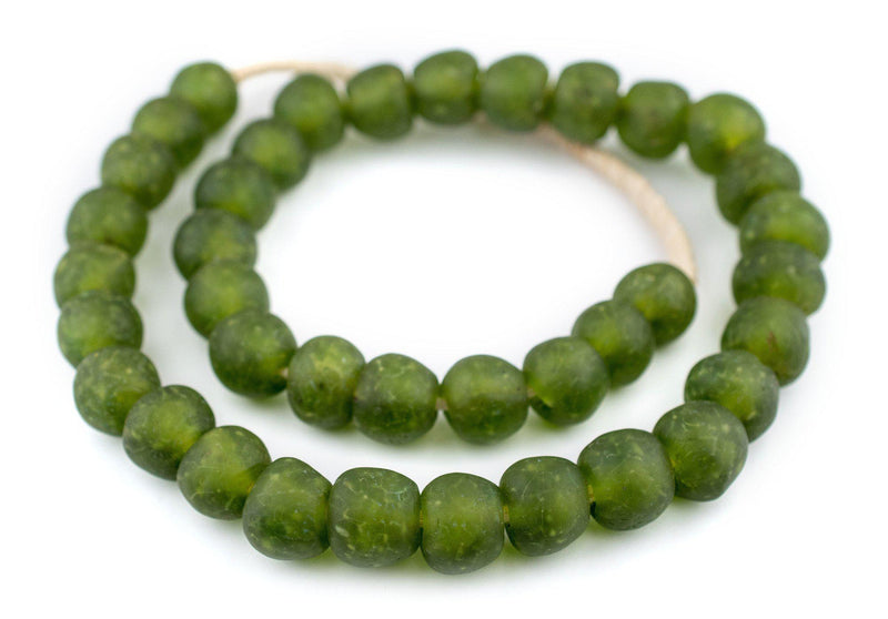 Lime Green Recycled Glass Beads (18mm) - The Bead Chest