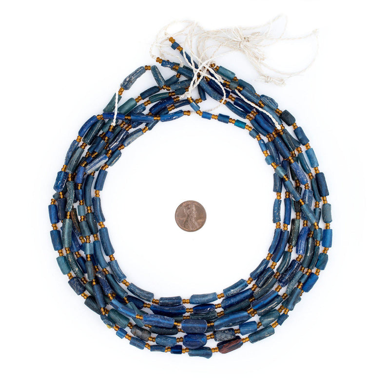 Blue Roman Glass Bangle Beads - The Bead Chest