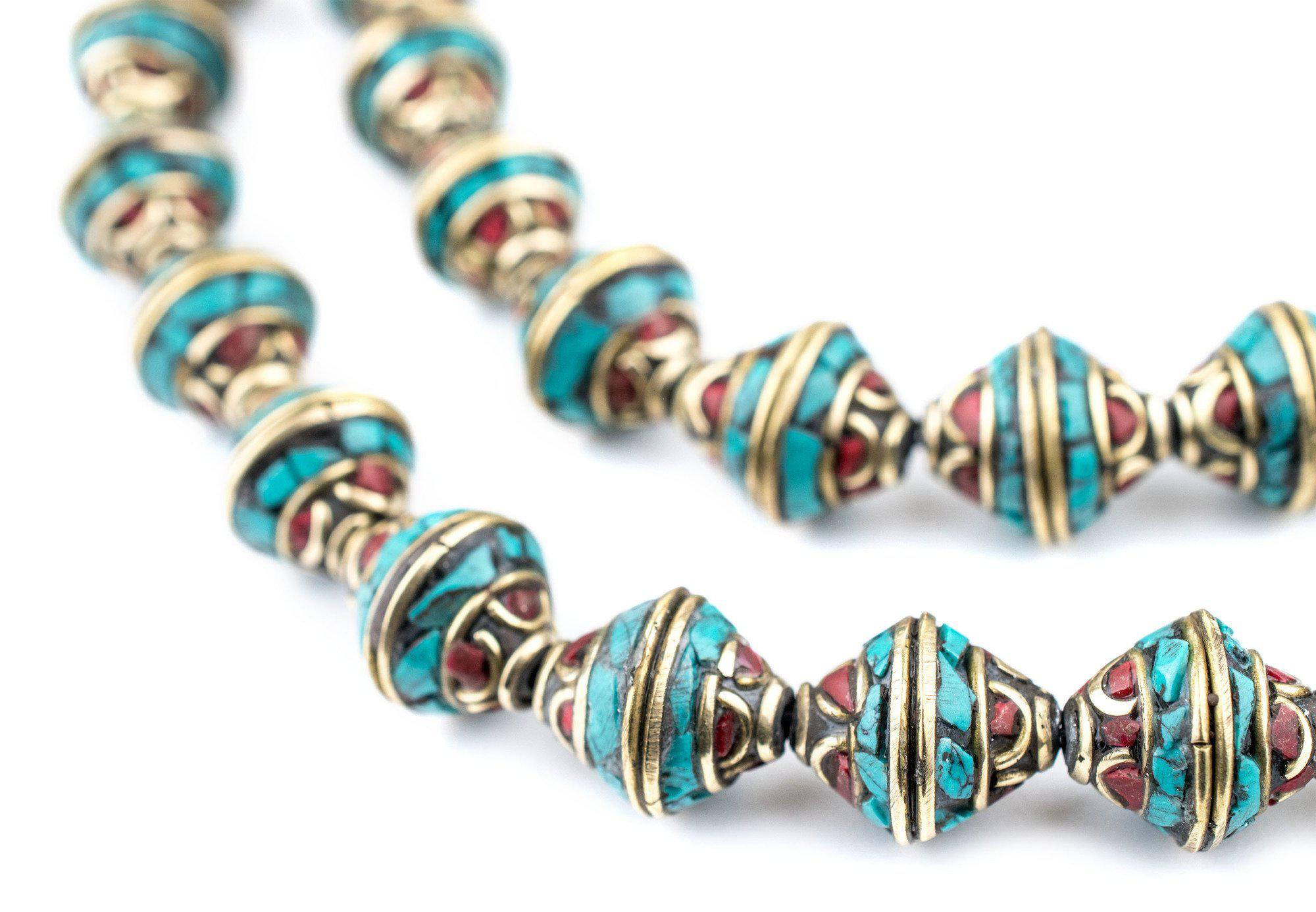 Premium Bicone Inlaid Nepali Brass Beads 14x12mm Multicolor 28 Inch Strand