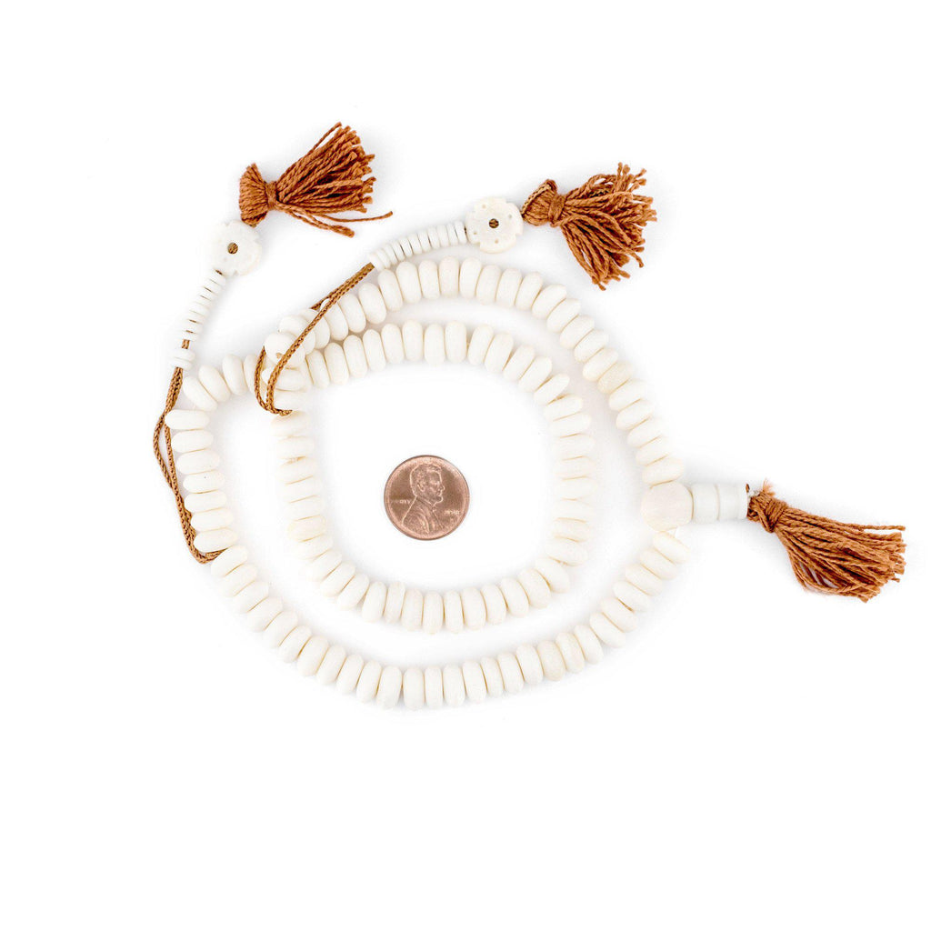 White Bone Mala Disk Beads (8mm) - The Bead Chest